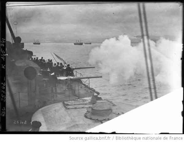 Averof firing at sea