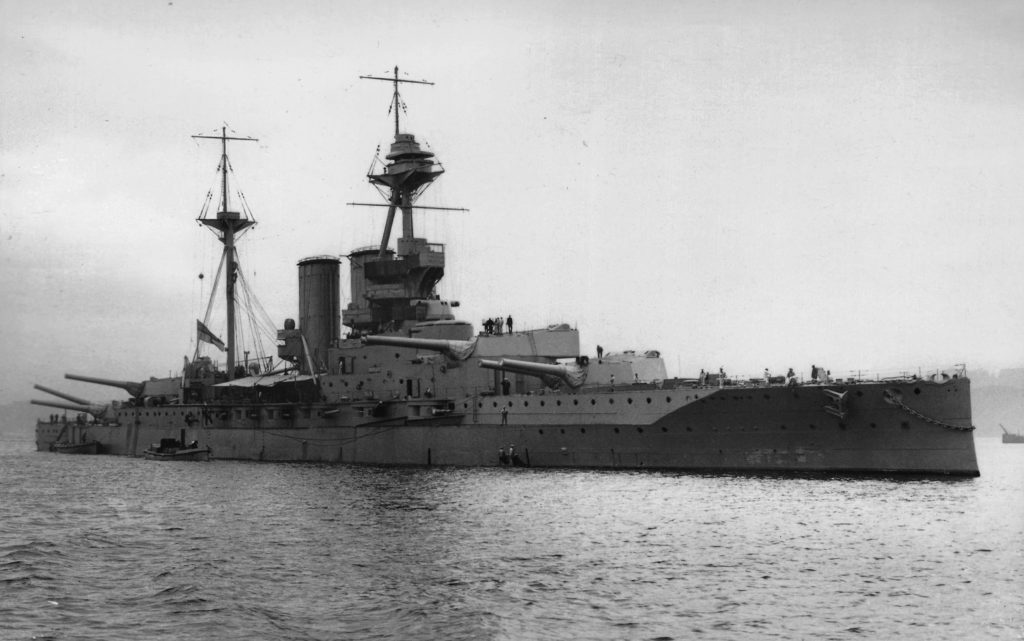 HMS Barham, with her guns trained to starboard side in 1916