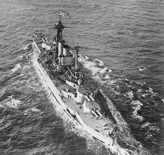 HMS Queen Elisabeth seen from her spotter plane in 1918
