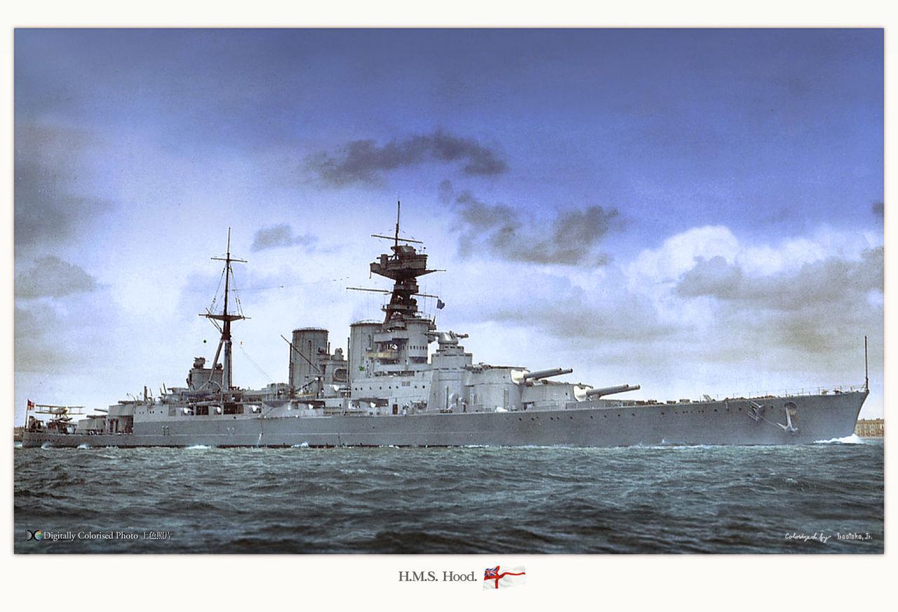 HMS Hood, colorized by Irootoko Jr.