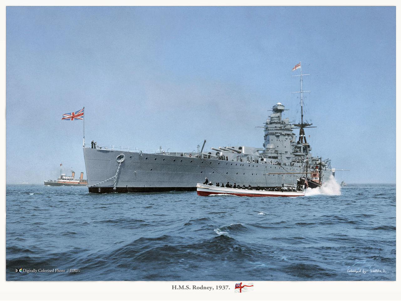 HMS Rodney, colorized by Irootoko Jr