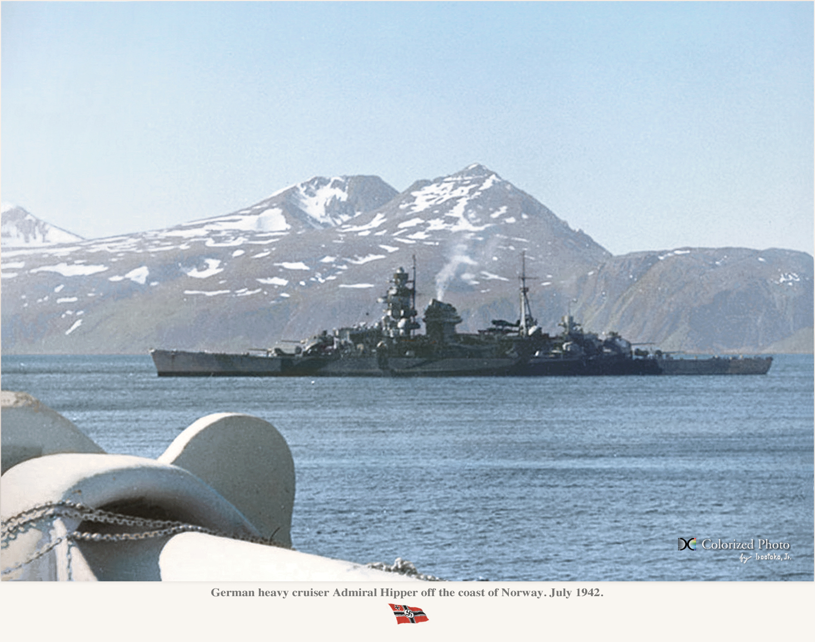 KMS Hipper in Norway, July 1942 - colorized by Irootoko jr