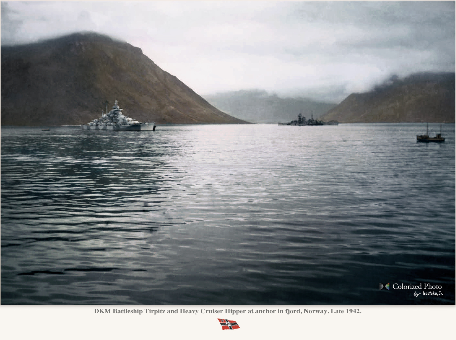 Tirpitz and Hipper in Norway, late 1942