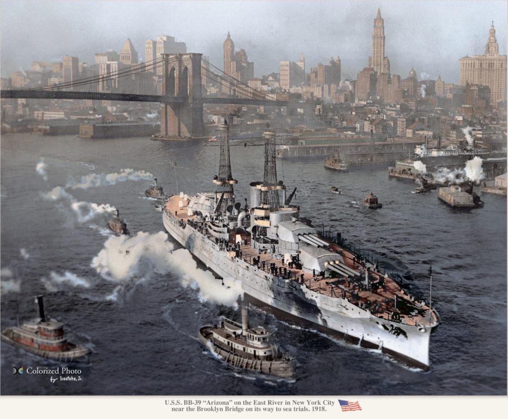 USS Arizona in New York, colorized by irotoko Jr