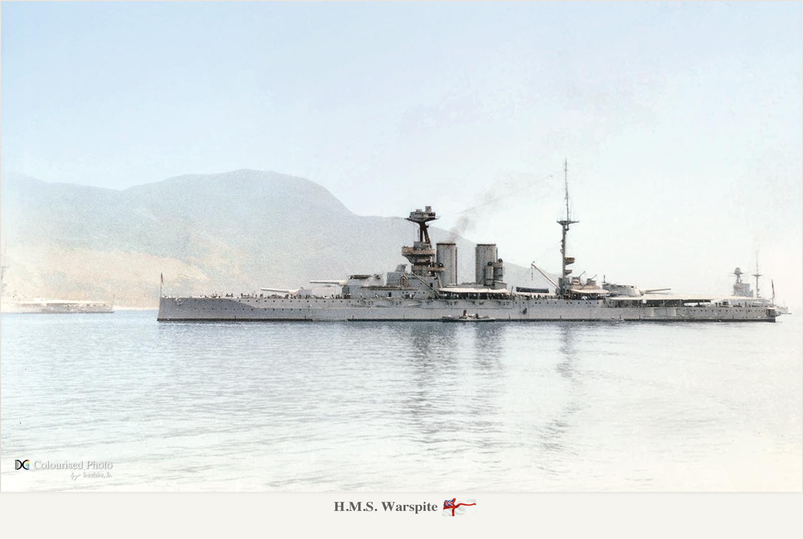 HMS Warspite in the Mediterranean, 1919 - colorized by irootoko Jr.