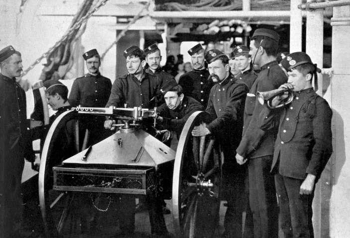 Royal Marines testing a Nordenfelt 5-barrel rifle in 1890.