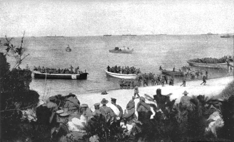X-Lighters in Anzac Cove, 1915.