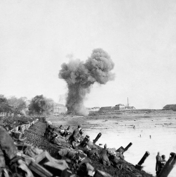 The assault on Walcheren, British troops advancing along the dikes.
