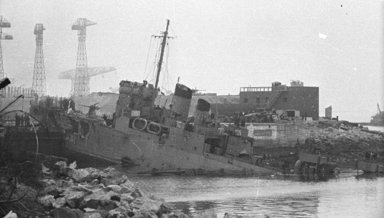 HMS Campbeltown in St Nazaire dock