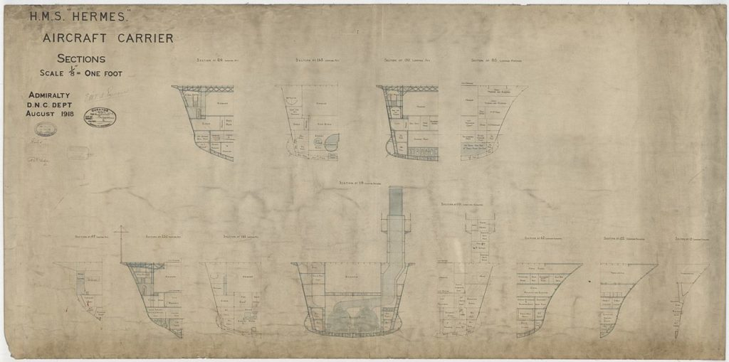 Final blueprint of HMS Hermes in 1918, hangar and hull sections