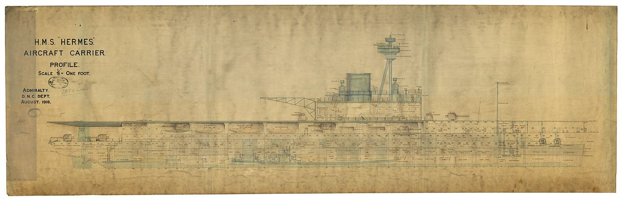 Blueprints of HMS Hermes - side view, last revision in 1918