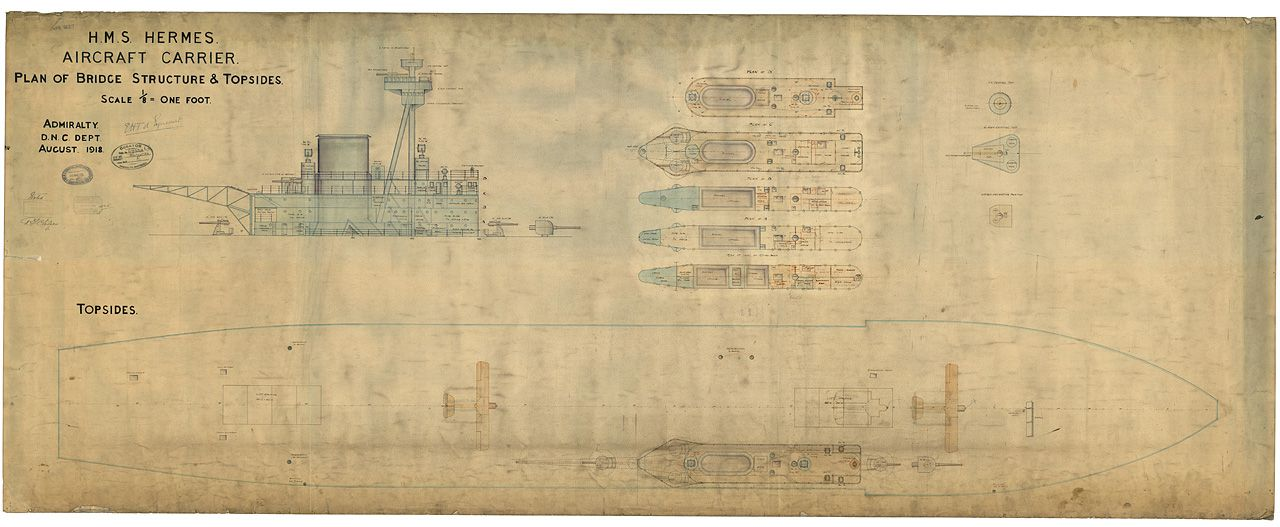 Blueprint of HMS Hermes - island and flying deck