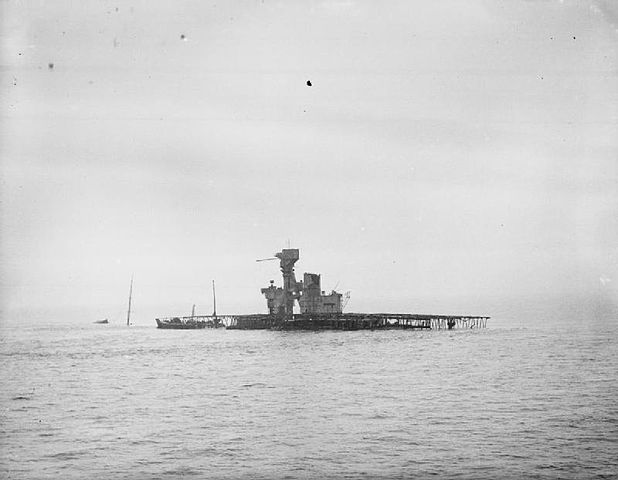 Another view of Fleet Tender C sunk, Shot from HMS Whaddon escorting a Convoy from 3 to 10 October 1941 to Sheerness