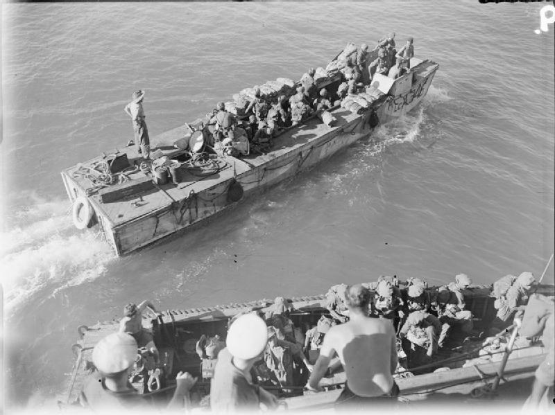 Indian troops from the cruiser HMS Kenya onboard LCA 346