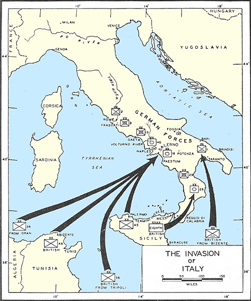 Map of invasion Italy
