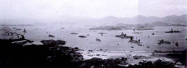 Hermes in obervation of the IJN fleet in Hong Kong, 1928