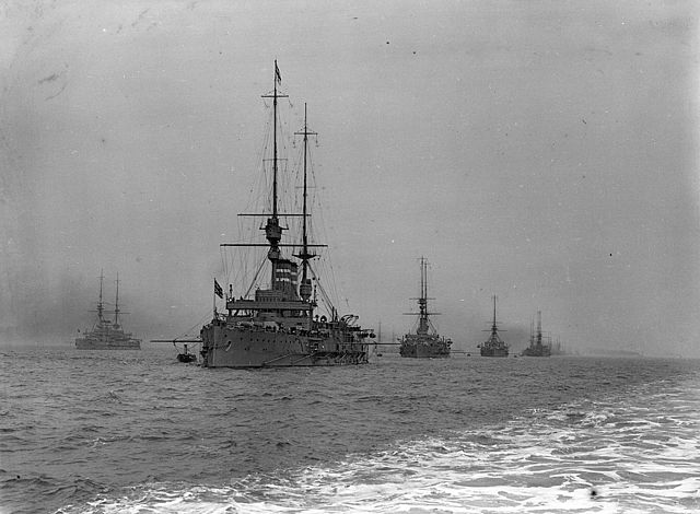 A general view of Line B with the battleships at anchor during the Royal Naval Review at Spithead