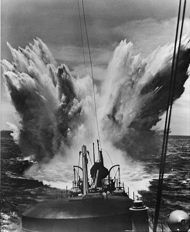 Depht charges dropped during the battle of the Atlantic
