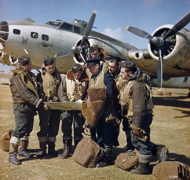 RAF Crew briefing in front of their B17 Fortress Mark IIA