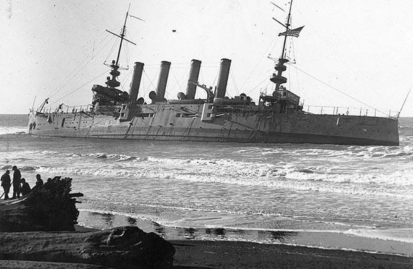 USS Milwaukee stranded off Eureka bay