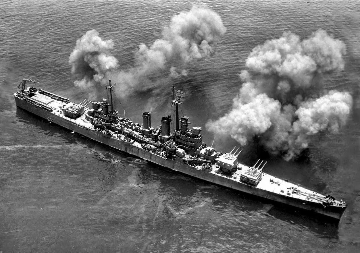 USS Wichita all guns blazing at Okinawa