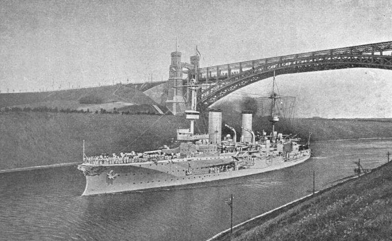 SMS Prinz Heinrich through the Kiel Canal