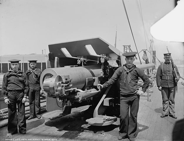 US-manufactured 6-inches onboard USS New Orleans