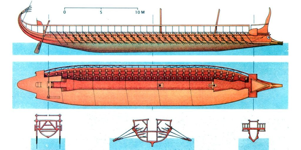 Cutaway of a triere such as the Olympias