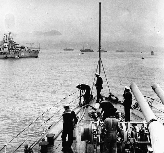 HMIS SUTLEJ leaves HongKong for Japan's Occupation force in 1945
