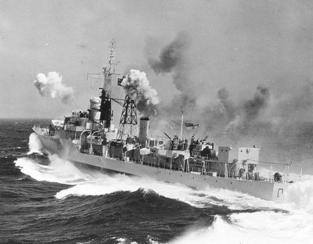 HMS Broasword in heavy weather