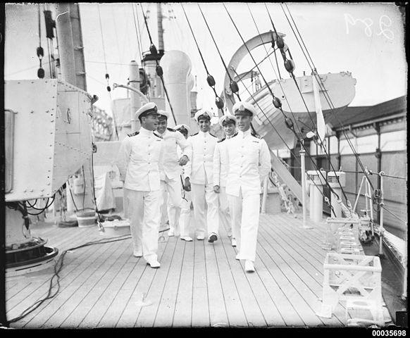 Royal Indian Navy officers on deck of HMIS HINDUSTAN, Sydney 1934