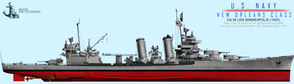 USS Minneapolis, measure 8 (variant) Battle of Surigao strait, 19 October 1944