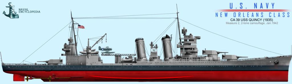 USS Quincy, measure 2, January 1942