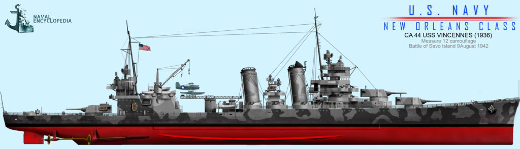 USS Vincennes, Measure 12, Battle of Savo Island, August 1942