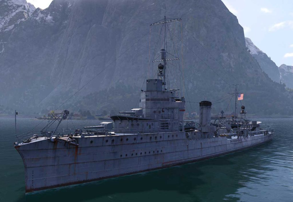 3d restitution of the USS Nicholas (World of Warships)