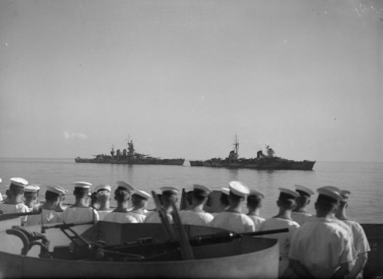 HMS Warspite present at the surrender of the Regia Marina in September 1943.