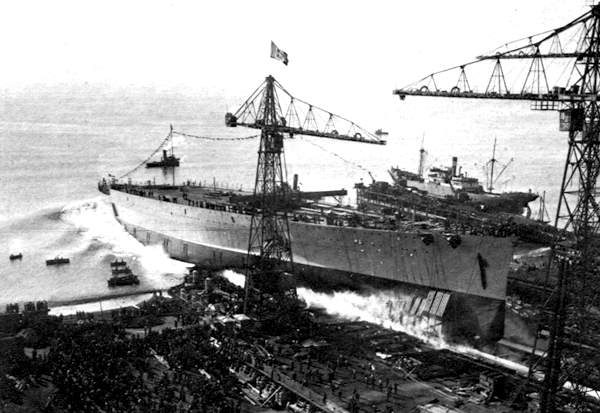 Launch of the Battleship RN Impero
