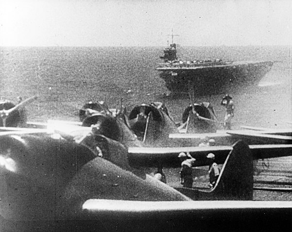 IJN planes preparing to take off from Akagi before the attack on Pearl Harbour