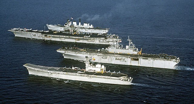 SNS Principe de Asturias, USS Wasp, Forrestal and HMS Invincible during Operation Invincible in 1991