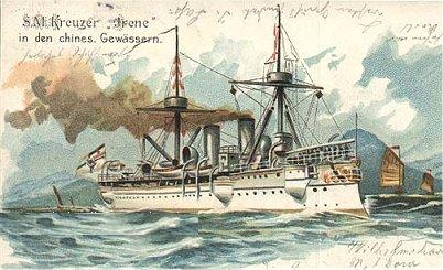 A postcard of the Asian squadron showing SMS Irene.