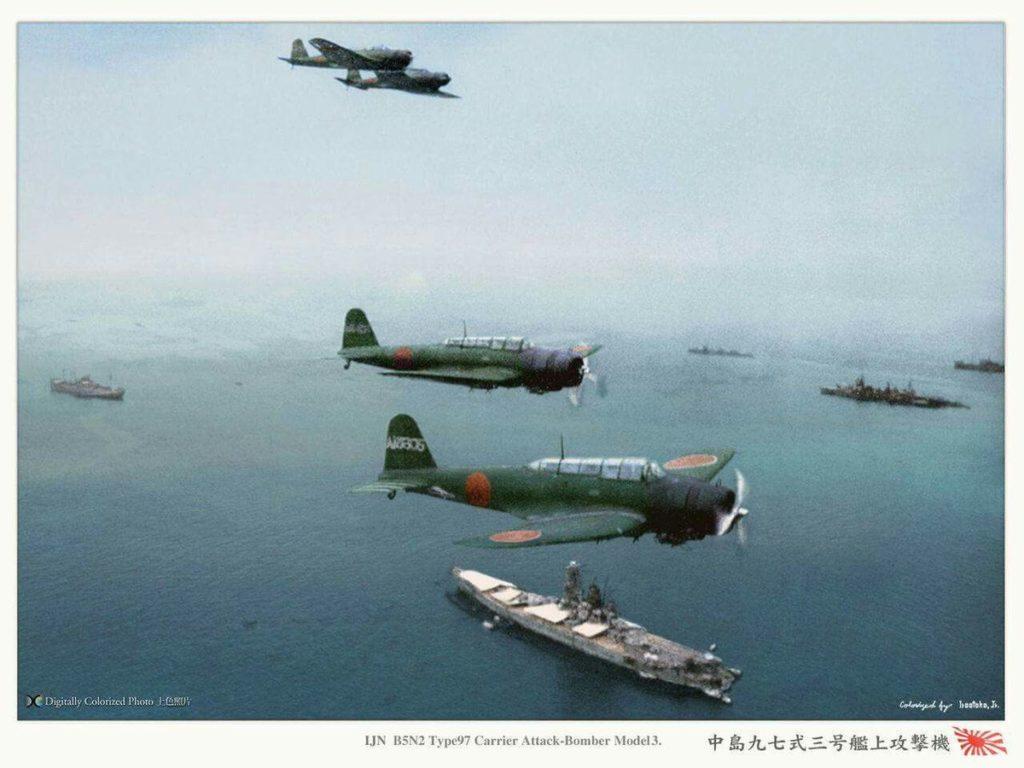 A group of Nakajima B5N2 over the fleet