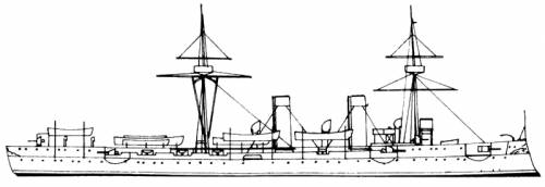 SMS Irene after refit in 1900