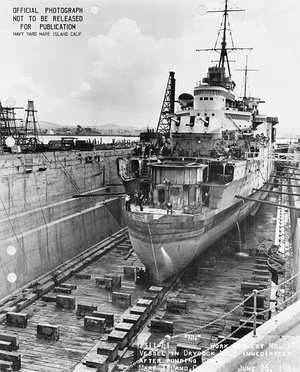 HMS Liverpool fitted with a new provisional bow at Mare Island Arsenal, 26 june 1941