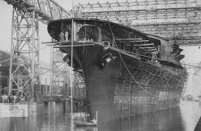 The launch of Akagi in 1925