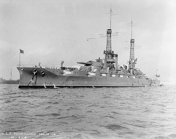 USS Pennsylvania as completed in 1916, official USN ordnance photo