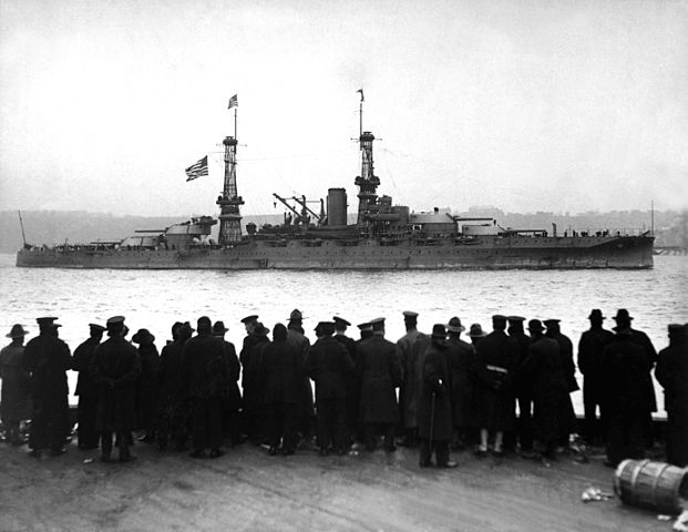 USS Arizona in 1918, for the naval review in New York following victory celebrations