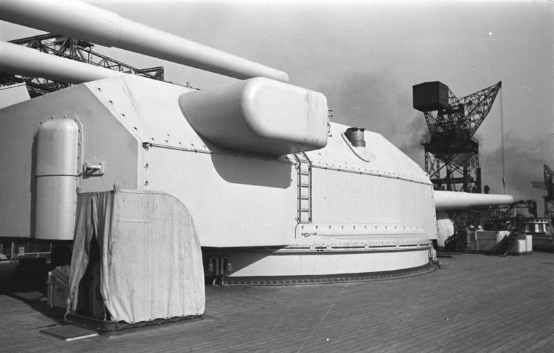Turret Anton on the Bismarck in completion