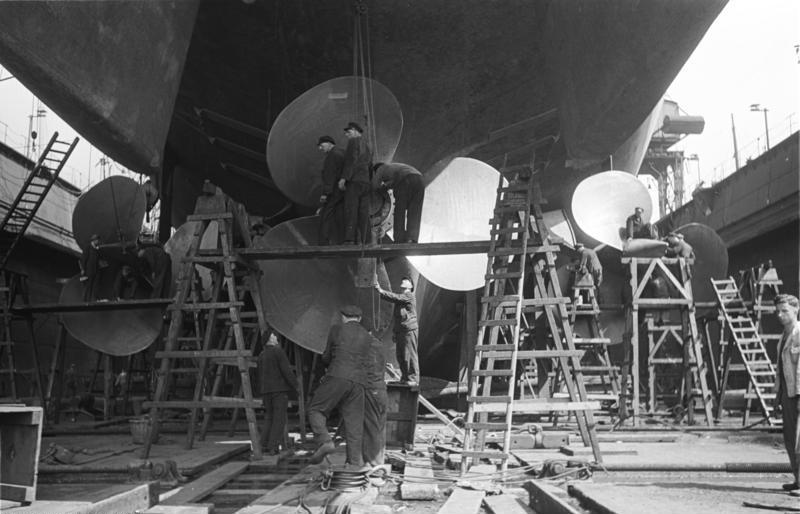 Bismarck in drydock