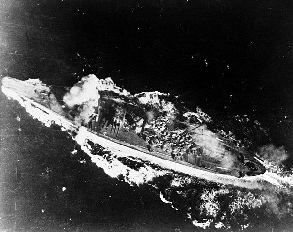 Yamato hit by a bomb during the Battle of the Sibuyan Sea