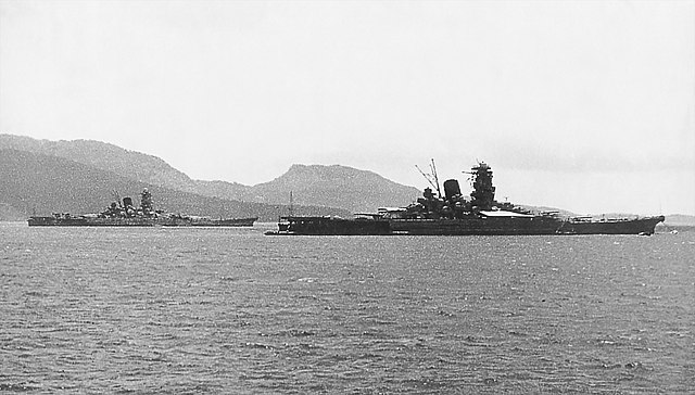 Yamato and Musashi anchored in the waters off of the Truk Islands